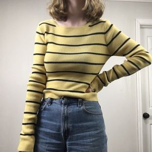 Aeropostale Yellow Striped Sweater